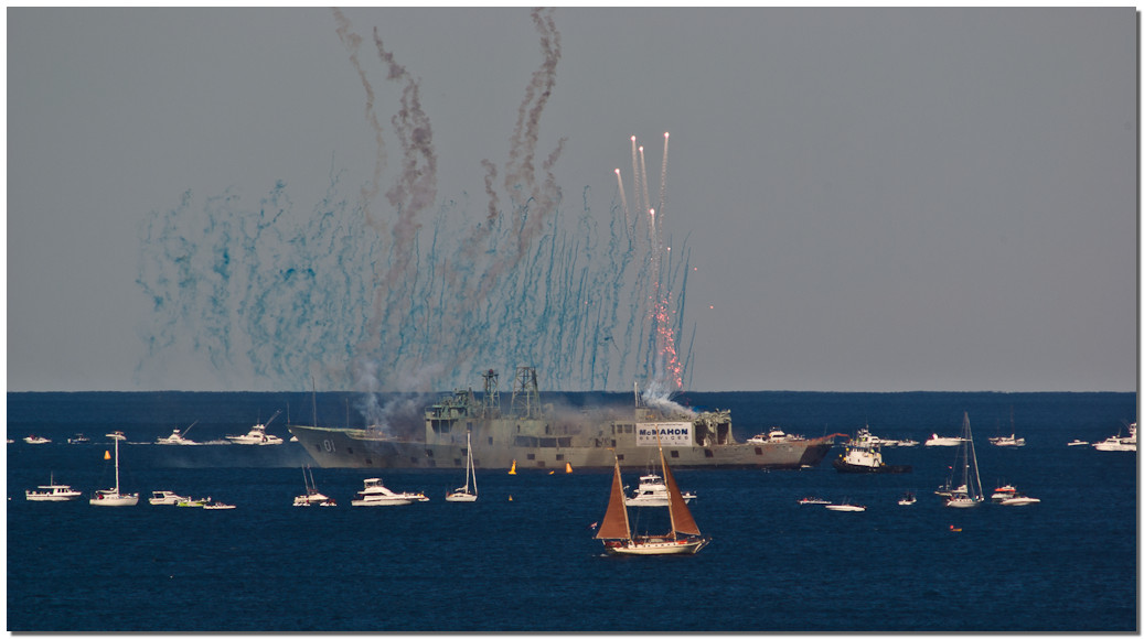 Flares signal the start of the sinking